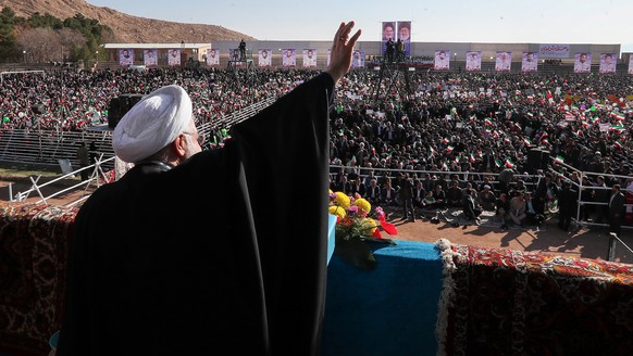 epa07207662 A handout photo made available by the presidential office shows Iranian President Hassan Rouhani speaking in the city of Shahroud, eastern Iran, 04 December 2018. According to reports, Rouhani criticized the US administration saying Washington tried to stop Iran's oil exports and trade with regional and international countries to isolate his country however it failed. The US administration has re-imposed new sanctions against Iran earlier in November 2018.  EPA/PRESIDENTIAL OFFICE HANDOUT  HANDOUT EDITORIAL USE ONLY/NO SALES