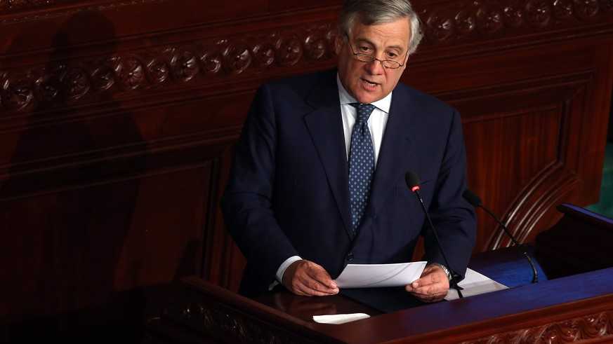epa06298150 President of the European Parliament Antonio Tajani delivers a speech at the House of People's Representatives (HPR) in Tunis, Tunisia, 30 October 2017. Tajani is in Tunisia for an official two-day visit.  EPA/MOHAMED MESSARA