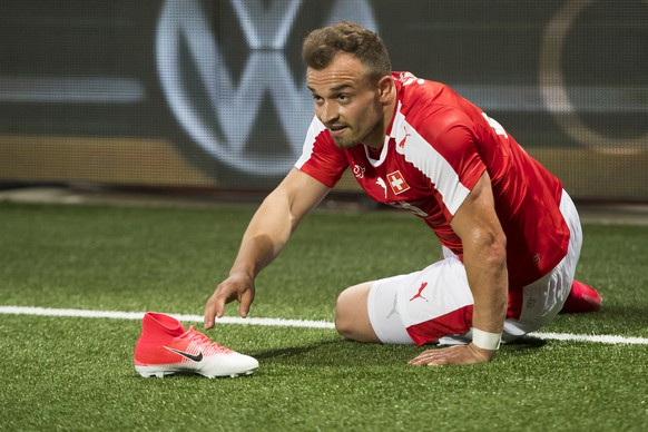 Swiss forward Xherdan Shaqiri, reacts during a friendly soccer match on the side line of the 2018 Fifa World Cup group B qualification between Switzerland and Belarus at the Stadium Maladiere, in Neuchatel, Switzerland, Thursday, June 1, 2017.(KEYSTONE/Jean-Christophe Bott)