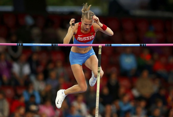 Anzhelika Sidorova of Russia competes in the women's pole vault during the European Athletics Championships at the Letzigrund Stadium in Zurich August 14, 2014. REUTERS/Phil Noble (SWITZERLAND  - Tags: SPORT ATHLETICS)