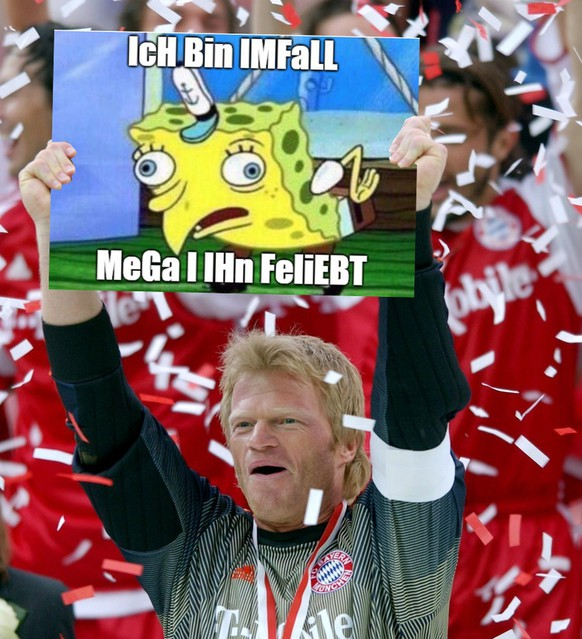 FC Bayern Munich's goalkeeper Oliver Kahn cheers as he holds up the German championship trophy shield at the Olympia stadium in Munich on Saturday, 17 May 2003. Bayern Munich president Karl-Heinz Rummenigge has ruled out Germany goalkeeper Oliver Kahn joining English Premiership champions Manchester United on Saturday. (KEYSTONE/EPA Photo  DPA/Peter Kneffel)