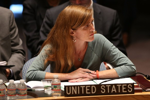 NEW YORK, NY - JULY 21: U.S. Ambassador to the United Nations, Samantha Power, attends a meeting of the United Nations (UN) Security Council to discuss the shooting down of a Malaysia Airlines passenger jet over eastern Ukraine on July 21, 2014 in New York City. There are growing calls for sanctions against Russia as the Security Council is briefed on matters and as investigators work to determine if Russian-backed Ukrainian separatist rebels were responsible for bringing down Flight MH-17.   Spencer Platt/Getty Images/AFP == FOR NEWSPAPERS, INTERNET, TELCOS & TELEVISION USE ONLY ==