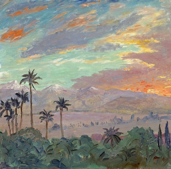 **  FILE ** This file photo supplied by Bonhams New York auction house shows a 1935 painting by Winston Churchill of a Moroccan sunset,