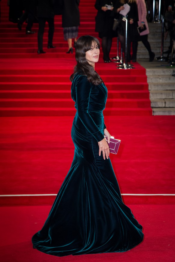 Monica Bellucci poses for photographers upon arrival at the world premiere of the latest James Bond film, 'Spectre' in London, Monday, Oct. 26, 2015. (Photo by Vianney Le Caer/Invision/AP)