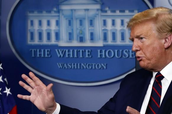 President Donald Trump speaks about the coronavirus in the James Brady Press Briefing Room of the White House, Thursday, April 2, 2020, in Washington. (AP Photo/Alex Brandon) Donald Trump