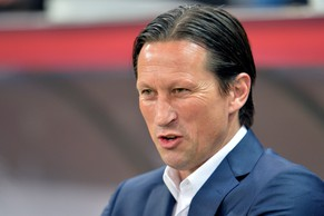 Salzburg head coach Roger Schmidt looks on prior to the Europa League round of 16 second leg soccer match between Red Bull Salzburg and FC Basel in Salzburg, Austria, on Thursday, March 20. 2014. (AP Photo/Kerstin Joensson)