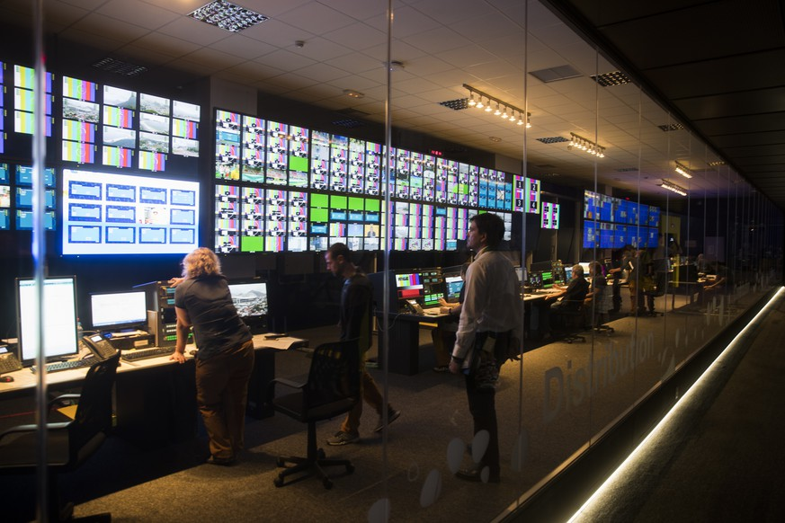 The main control room of the Olympic Broadcasting Service is pictured during a media tour in the International Broadcast Centre IBC, in Rio de Janeiro, Brazil, prior to the Rio 2016 Olympic Summer Games, pictured on Wednesday, August 3, 2016. (KEYSTONE/Peter Klaunzer)