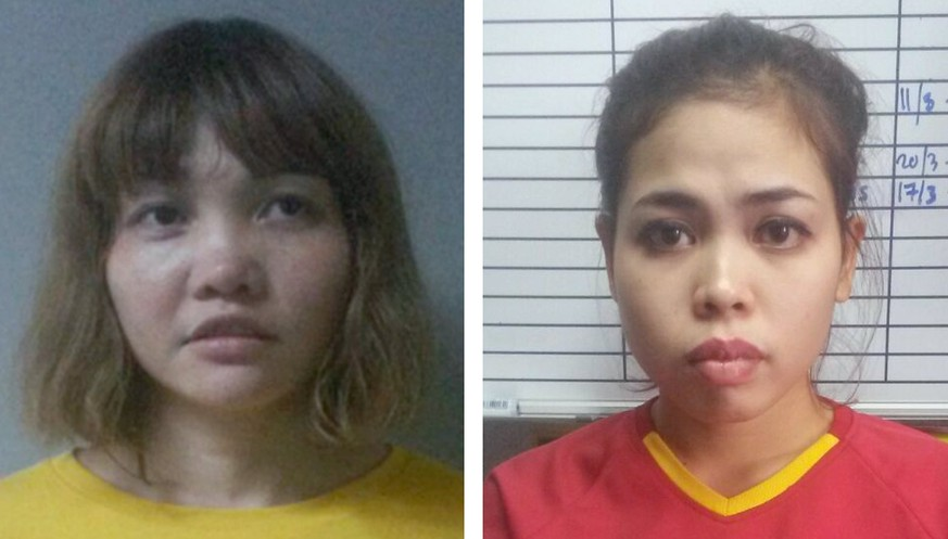 epa06239459 (FILE) - An undated combo handout file photograph released by the Royal Malaysia Police (RMP) shows Vietnamese Doan Thi Huong (L) and Indonesian Siti Aisyah (R) after being arrested in connection with the death of Kim Jong-nam, in Kuala Lumpur, Malaysia (reissued 02 October 2017). According to media reports, the two women pleaded not guilty in the murder of Kim Jong-nam during their trial on 02 October 2017, at a court in Shah Alam, outside of Kuala Lumpur. Kim Jong-nam, a half-brother of North Korean leader Kim Jong-un, was killed at a Kuala Lumpur airport on 13 February 2017, after two women reportedly sprayed him with a highly toxic chemical weapon known as the VX nerve agent. The suspects have been charged with murder under Section 302 of the penal code, which carries mandatory death sentence if found guilty.  EPA/ROYAL MALAYSIA POLICE HANDOUT -- BEST QUALITY AVAILABLE -- HANDOUT EDITORIAL USE ONLY/NO SALES