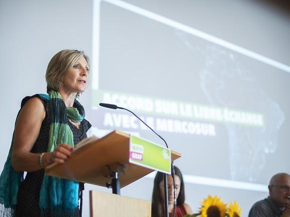 Die Baselbieter Nationalrätin Maya Graf hat am Samstag an der Delegiertenversammlung der Grünen in Rapperswil-Jona für fairen statt schrankenlosen Handel plädiert. (KEYSTONE/Gian Ehrenzeller)
