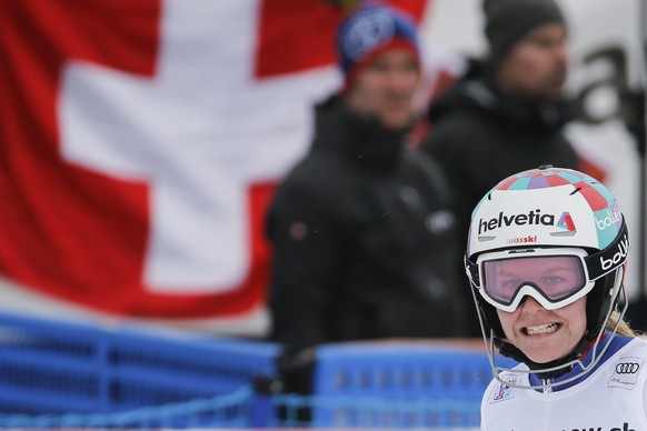 Rahel Kopp of Switzerland reacts in the finish area during the women's Slalom of the Alpine combination race at the FIS Alpine Ski World Cup, in St. Moritz, Switzerland, Friday, December 8, 2017. (KEYSTONE/Alexandra Wey)