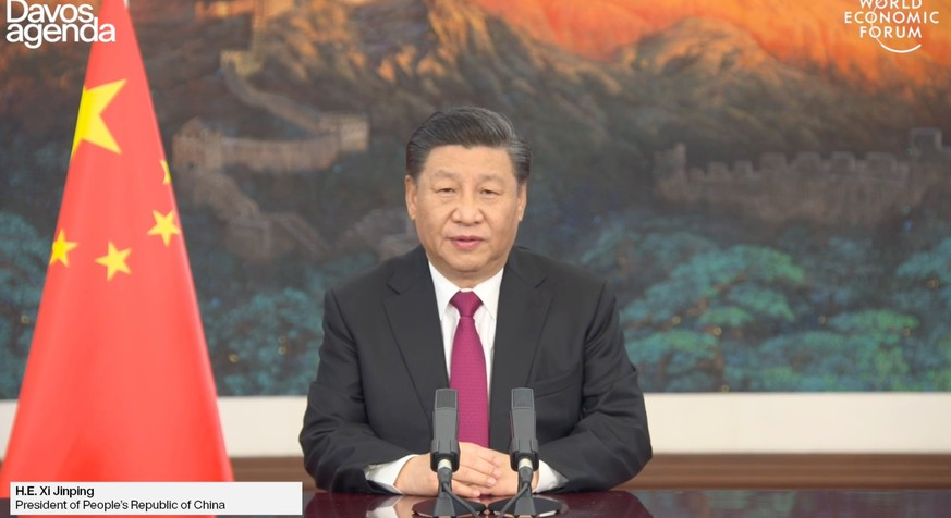 HANDOUT - Special Address by Xi Jinping, President of the People's Republic of China on the occasion of the online edition World Economic Forum, on Monday, 25 January 2021. (World Economic Forum/Pascal Bitz) +++ NO SALES; MANDATORY CREDIT