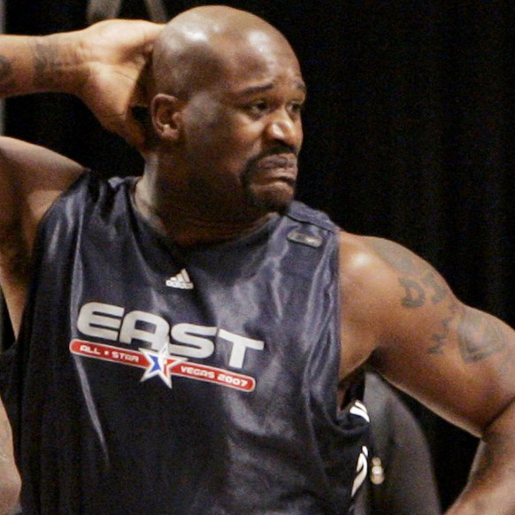 FILE - This Feb. 17, 2007, file photo, shows Shaquille O'Neal, right, of the Miami Heat, and LeBron James, of the Cleveland Cavaliers,  dancing together during NBA All-Star basketball practice in Las Vegas. This year's Hall of Fame class includes a star-studded field of potential finalists, including Shaquille O'Neal, Yao Ming and Allen Iverson. That trio should be a lock to get in. (AP Photo/Kevork Djansezian, File)