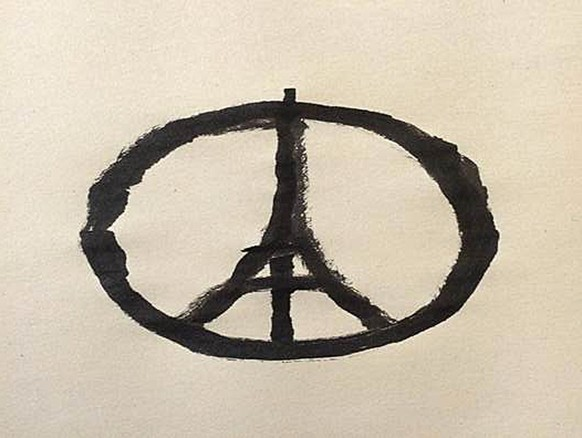This photograph made available on Saturday Nov. 14, 2015, shows a piece of artwork created by Jean Jullien. Social media was awash Saturday with images of public buildings lit up in the French colors of red, white as people globally expressed their solidarity with the French facing the aftermath of the terror attacks in Paris. One of the most shared images was of a piece symbol by Jean Jullien, a French graphic designer living in London. Jullien said he came to the image using simple association of Paris with peace. (Jean Jullien via AP)