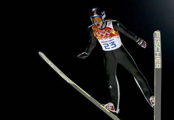 epa04079593 Gregor Deschwanden of Switzerland in action during the trial jump of the Large Hill Individual Ski Jumping competition at the Russki Gorki Jumping Centre at the Sochi 2014 Olympic Games, Krasnaya Polyana, Russia, 15 February 2014.  EPA/VALDRIN XHEMAJ