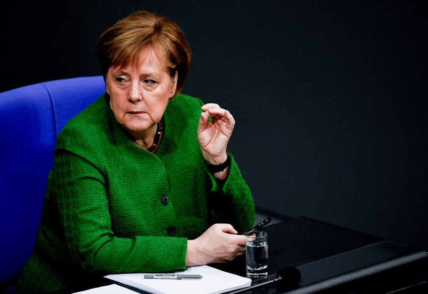epa07295612 German Chancellor Angela Merkel attends a session of the German parliament 'Bundestag' in Berlin, Germany, 18 January 2019. Members of the Bundestag gathered to debate on Asylum law among other topics.  EPA/FILIP SINGER