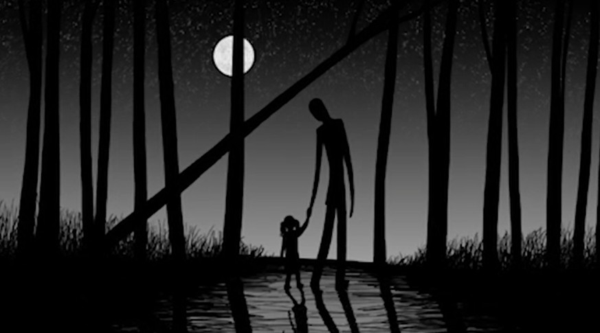 This image released by HBO shows a drawing of the urban mythical character Slenderman holding a child's hand from the documentary,