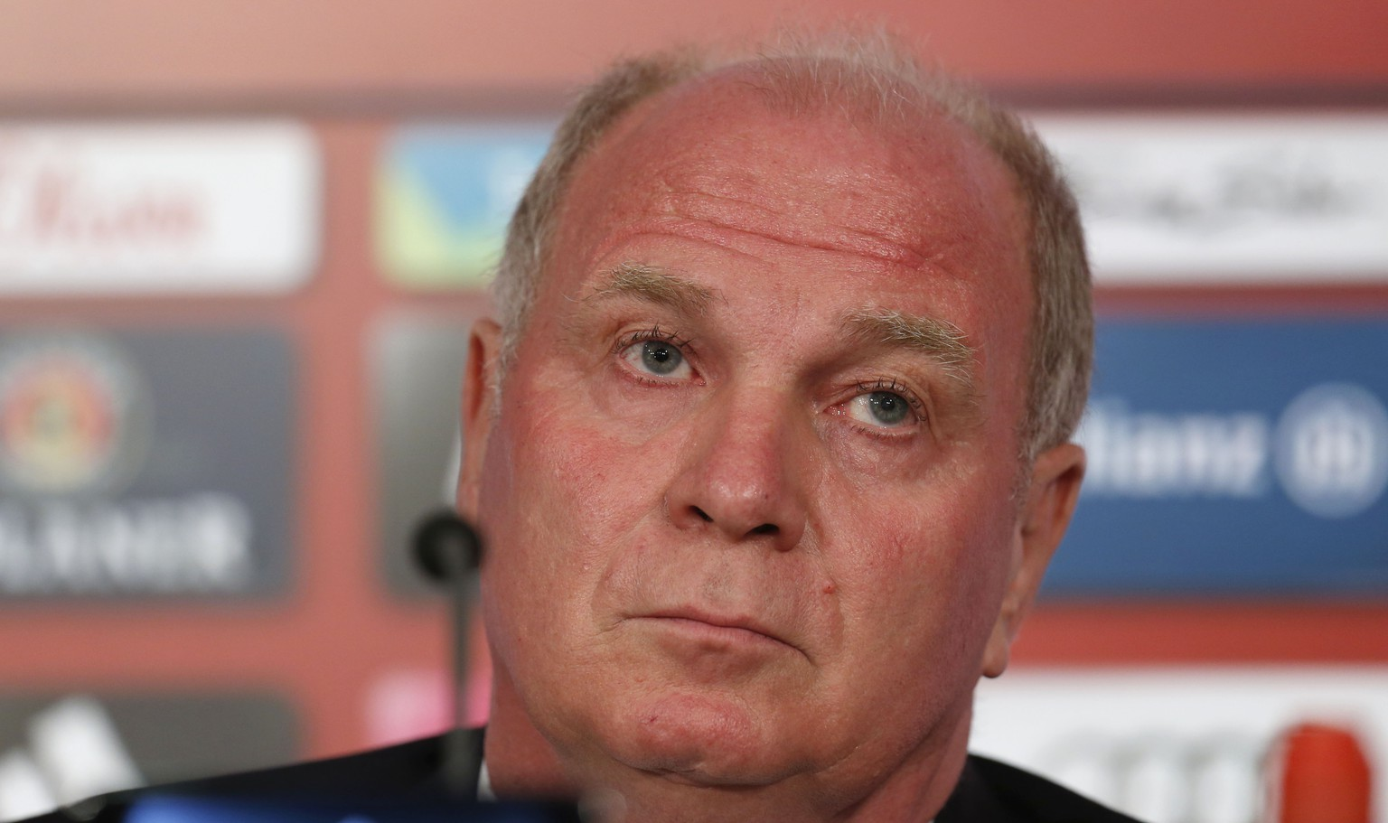 FC Bayern Munich president Uli Hoeness talks to journalists during a news conference in Munich, southern Germany, Monday, June 24, 2013. (AP Photo/Matthias Schrader)
