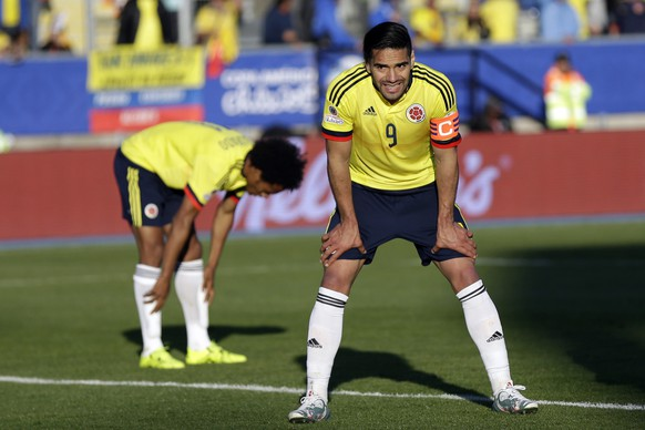 Colombia's Radamel Falcao Garcia, right,  and Juan Cuadrado react after Venezuela scored during a Copa America Group C soccer match at El Teniente stadium in Rancagua, Chile, Sunday, June 14, 2015. Venezuela won the match 1-0. (AP Photo/Natacha Pisarenko)