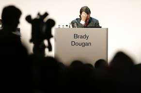 CEO Dougan Brady of Swiss bank Credit Suisse attends the company's annual shareholder meeting in Zurich May 9, 2014. Credit Suisse is doing everything in its power to reach a settlement with U.S. authorities who are probing whether and how its private bankers helped wealthy Americans dodge their taxes, executives will tell the bank's shareholders on Friday.    REUTERS/Arnd Wiegmann (SWITZERLAND - Tags: BUSINESS TPX IMAGES OF THE DAY)