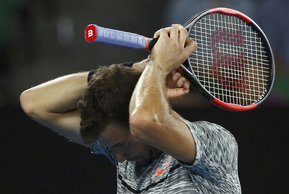Tennis - Australian Open - Melbourne Park, Melbourne, Australia - 27/1/17 Bulgaria's Grigor Dimitrov reacts during his Men's singles semi-final match against Spain's Rafael Nadal. REUTERS/Thomas Peter