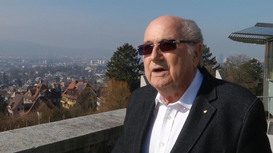 This image taken from Associated Press television shows Sepp Blatter speaking to the Associated Press in Zurich, Switzerland, Saturday, Feb. 27, 2016. Blatter feels relief at no longer being FIFA president, and warmly praised his successor Gianni Infantino on Saturday. The controversial Blatter seemed happy and at peace in an interview with The Associated Press to reflect on the end of 17 often combative years atop soccer's scandal-hit governing body. (AP Photo)
