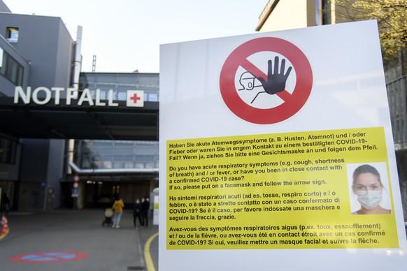 Der Eingang zur COVID-Triage im Inselspital fotografiert waehrend der Coronavirus (Covid-19) Pandemie, am Dienstag, 17. Maerz 2020 in Bern. (KEYSTONE/Anthony Anex)