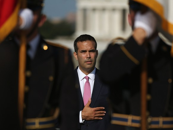 WASHINGTON, DC - SEPTEMBER 02: George Prescott Bush, grandson of President George H.W. Bush, participtes in a ceremony at the World War II Memorial, September 2, 2014 in Washington, DC. The ceremony was held to commemorate the 70th anniversary of President George H.W. Bush's 46th combat mission as a Navy torpedo bomber pilot, when he was shot down over the Pacific during World War II, and to commemorate the recent 69th anniversary of V-J Day when allied forces claimed victory in the Pacific and the end of the World War II.   Mark Wilson/Getty Images/AFP == FOR NEWSPAPERS, INTERNET, TELCOS & TELEVISION USE ONLY ==