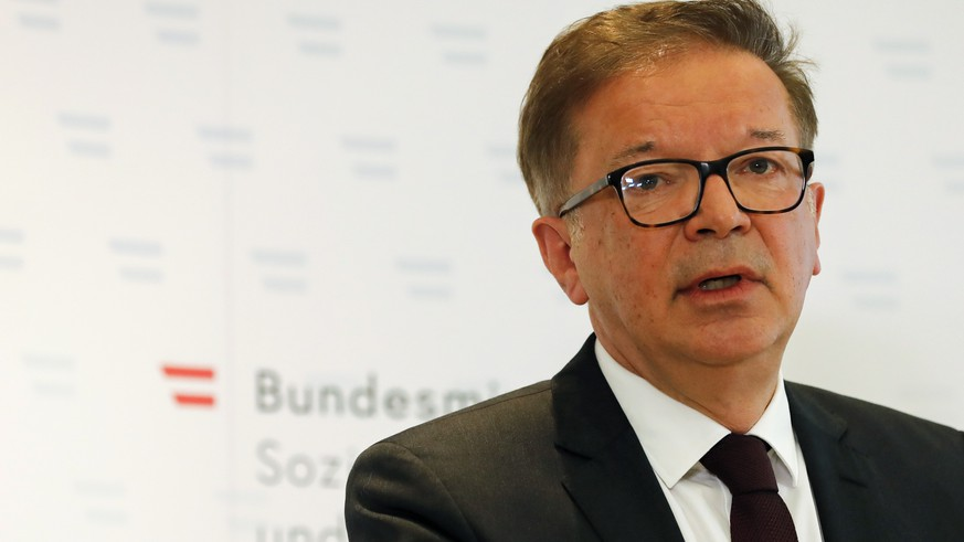 Austrian health minister Rudolf Anschober announces his resignation due to health problems and overworking in Vienna, Austria, Tuesday, April 13, 2021. Anschober said that he couldn