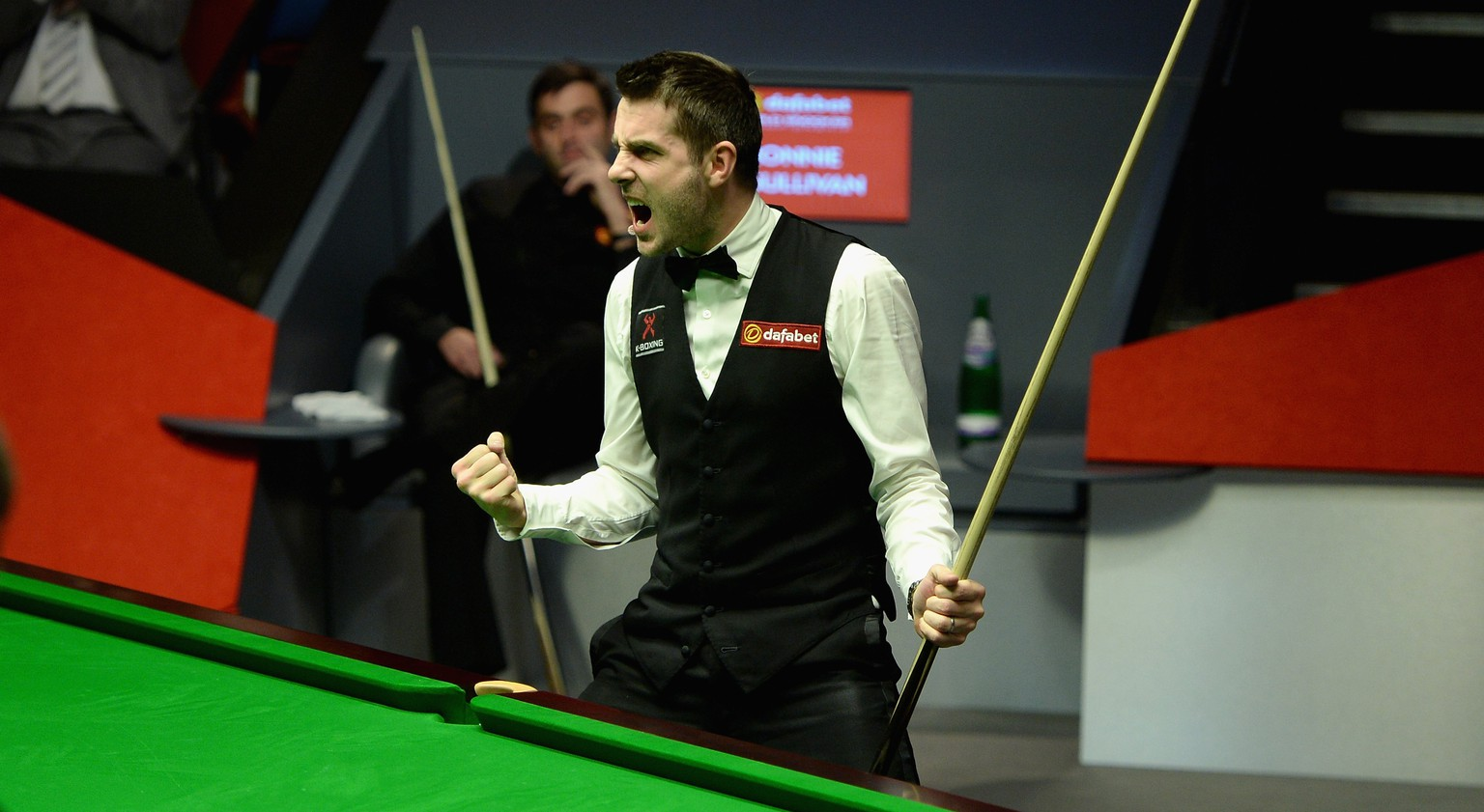 SHEFFIELD, ENGLAND - MAY 05:  Mark Selby celebrates potting the final black to win The Dafabet World Snooker Championship final at Crucible Theatre on May 5, 2014 in Sheffield, England.  (Photo by Gareth Copley/Getty Images)