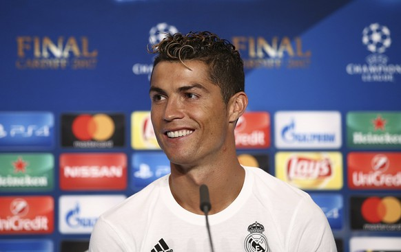 epa06009455 A handout photo made available by the UEFA shows Christiano Ronaldo of Real Madrid addressing to media after the UEFA Champions League final between Juventus FC and Real Madrid at the National Stadium of Wales in Cardiff, Britain, 03 June 2017.  EPA/UEFA HANDOUT  HANDOUT EDITORIAL USE ONLY/NO SALES
