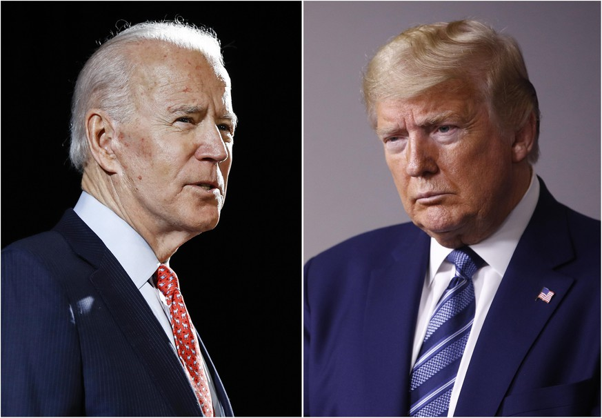 FILE - In this combination of file photos, former Vice President Joe Biden speaks in Wilmington, Del., on March 12, 2020, left, and President Donald Trump speaks at the White House in Washington on April 5, 2020. (AP Photo, File) Donald Trump