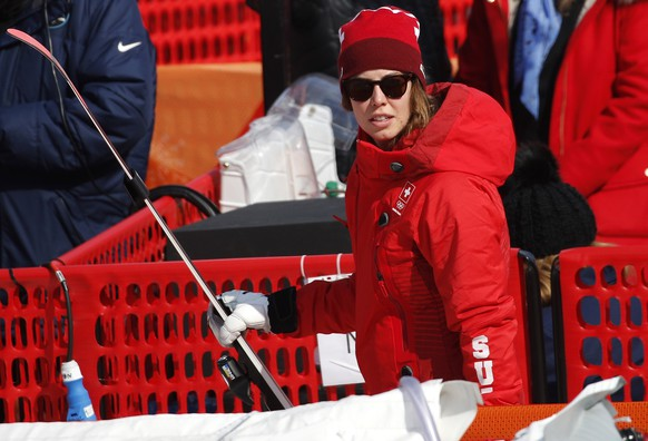 Switzerland's Michelle Gisin stands in the finish area after women's downhill training at the 2018 Winter Olympics in Jeongseon, South Korea, Tuesday, Feb. 20, 2018. (AP Photo/Christophe Ena)