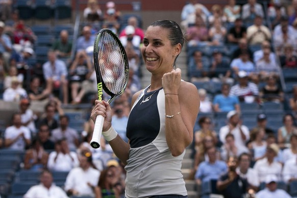 Flavia Pennetta of Italy celebrates after defeating Petra Kvitova of the Czech Republic in their quarterfinals match at the U.S. Open Championships tennis tournament in New York, September 9, 2015. REUTERS/Shannon Stapleton