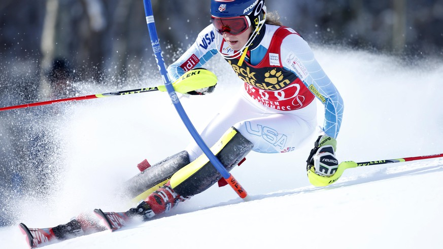 Nov 29, 2015; Aspen, CO, USA; Mikaela Shiffrin of the United States during the women's slalom race in the FIS alpine skiing World Cup at Aspen Snowmass. Mandatory Credit: Erich Schlegel-USA TODAY Sports