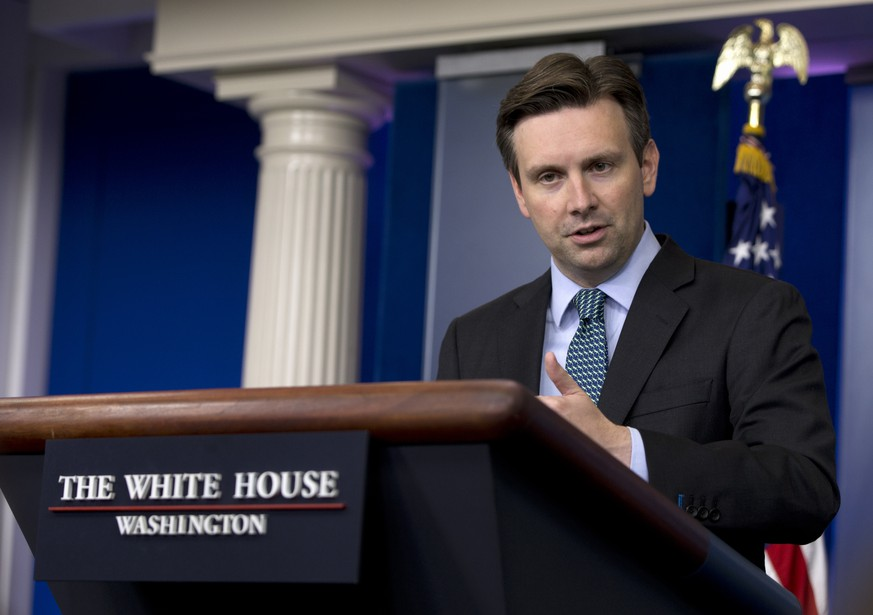White House press secretary Josh Earnest speaks during the daily news briefing at the White House in Washington, Tuesday, June 2, 2015. Earnest discussed the NSA phone collection bill, US-led coalition's IS group strategy, and Bruce Jenner's transition to Caitlyn Jenner, and other topics. (AP Photo/Carolyn Kaster)
