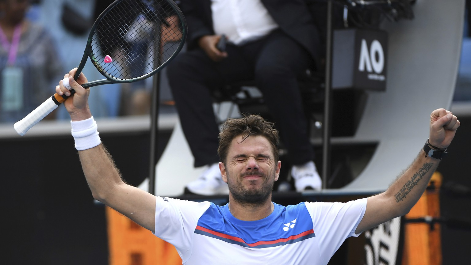 Switzerland's Stan Wawrinka celebrates after defeating Russia's Daniil Medvedev in their fourth round singles match at the Australian Open tennis championship in Melbourne, Australia, Monday, Jan. 27, 2020. (AP Photo/Andy Brownbill) Stan Wawrinka