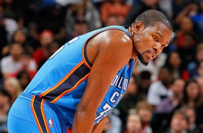 FILE - MARCH 20:  According to reports, Oklahoma Thunder star Kevin Durant suffered a setback with a preseason foot fracture, and will stop basketball related activities jeopardizing a return this season, March 20, 2014. ATLANTA, GA - JANUARY 23:  Kevin Durant #35 of the Oklahoma City Thunder reacts during the game against the Atlanta Hawks at Philips Arena on January 23, 2015 in Atlanta, Georgia.  NOTE TO USER: User expressly acknowledges and agrees that, by downloading and or using this photograph, User is consenting to the terms and conditions of the Getty Images License Agreement.  (Photo by Kevin C. Cox/Getty Images)