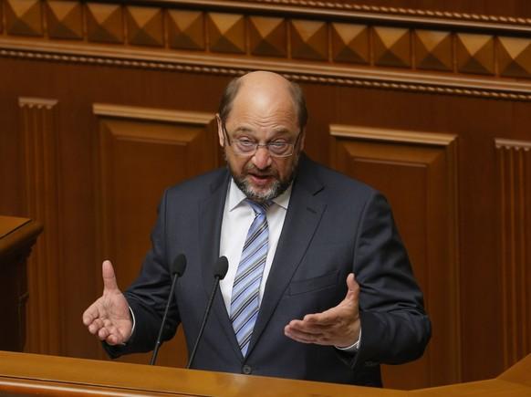 President of the European Parliament Martin Schulz  addresses Ukrainian lawmakers in Parliament  in Kiev, Ukraine, Friday, July 3, 2015.  (AP Photo/Sergei Chuzavkov)