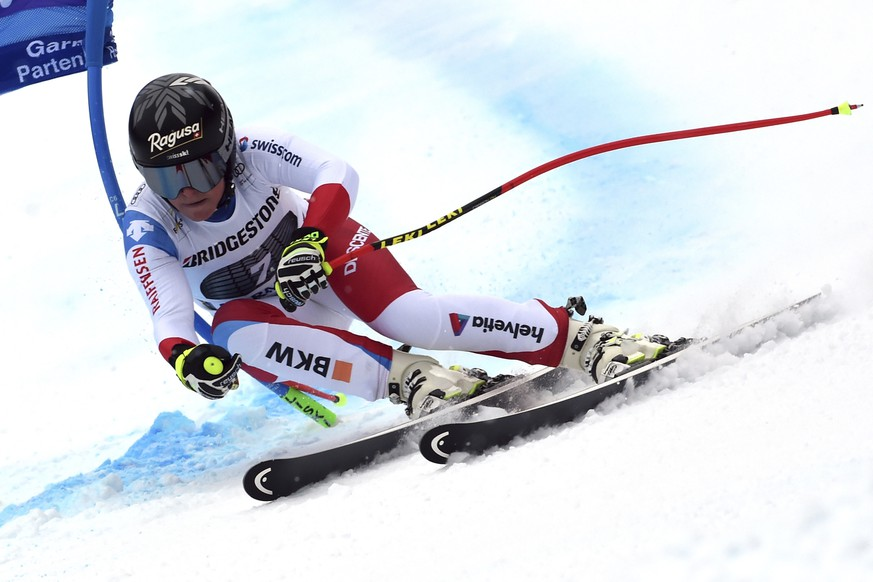 Switzerland's Lara Gut competes during an alpine ski, women's World Cup super G, in Garmisch Partenkirchen, Germany, Saturday Jan. 26, 2019. (AP Photo/Marco Tacca)