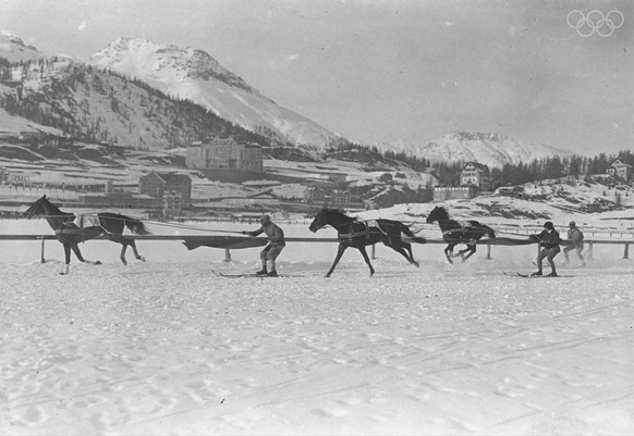 12 Feb 1928:  Competitors in action during the Skijoering event at the 1928 Winter Olympic Games in St. Moritz, Switzerland. \ Mandatory Credit: IOC Olympic Museum  /Allsportolympia st. moritz huber