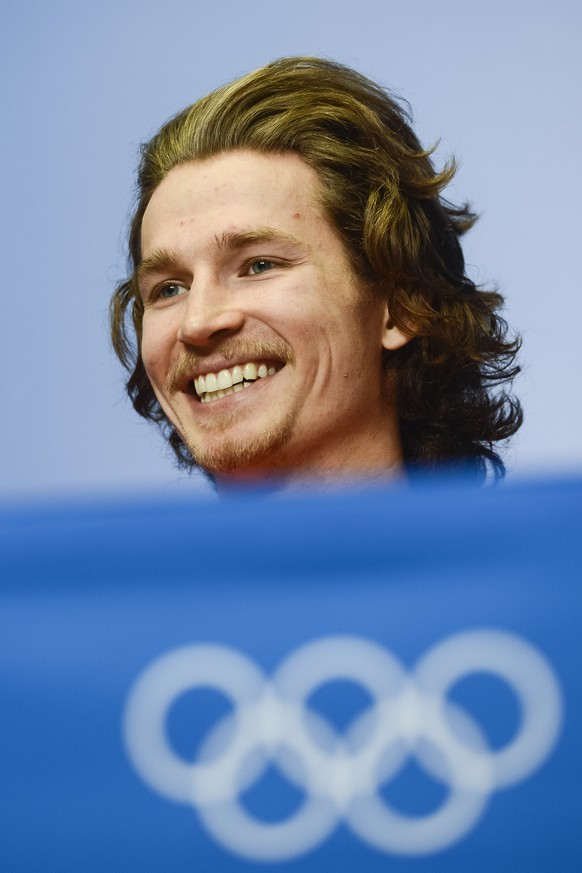 Iouri Podladtchikov of Switzerland, reacts during a press conference at the XXII Winter Olympics 2014 Sochi in Krasnaya Polyana, Russia, on Saturday, February 8, 2014. (KEYSTONE/Jean-Christophe Bott)