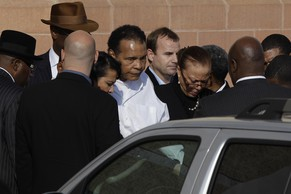 Muhammad Ali leaves after attending a memorial service for boxing legend Joe Frazier at the Enon Tabernacle Baptist Church Monday, Nov. 14, 2011, in Philadelphia. (AP Photo/Matt Slocum)