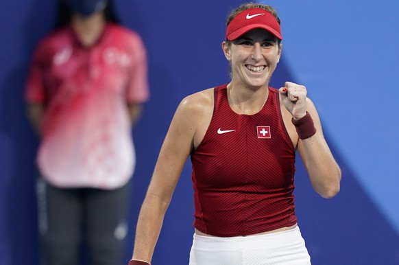 Belinda Bencic, of Switzerland, reacts after defeating Jessica Pegula, of the United States, during the tennis competition at the 2020 Summer Olympics, Saturday, July 24, 2021, in Tokyo, Japan. (AP Photo/Patrick Semansky) Belinda Bencic