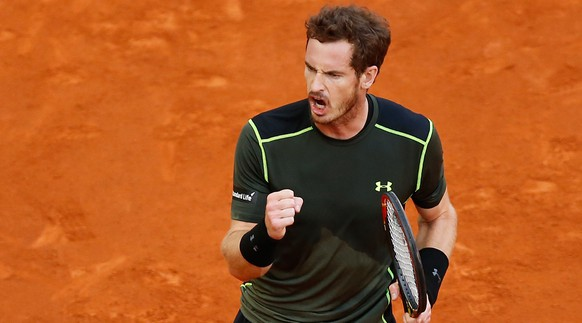 Andy Murray of Great Britain celebrates a point won against Rafael Nadal of Spain during the final of the Madrid Open Tennis tournament in Madrid, Spain, Sunday, May 10, 2015. (AP Photo/Daniel Ochoa de Olza)