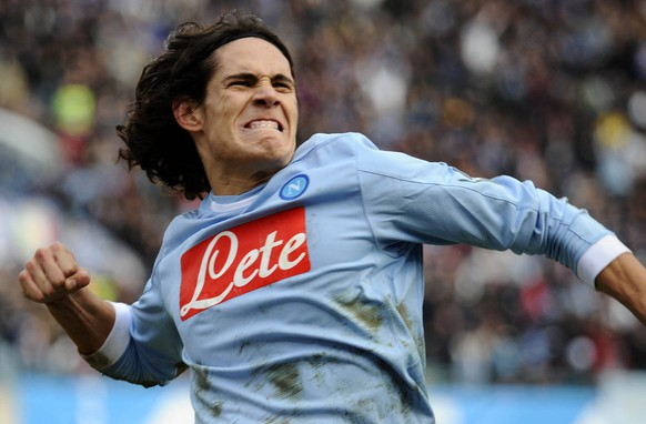 Napoli Uruguayan striker Edinson Cavani reacts after scoring during a Serie A soccer match between Napoli and Sampdoria at Naples' San Paolo stadium, southern Italy,  Sunday, Jan. 30, 2011.  (AP Photo/Salvatore Laporta)