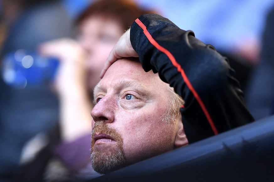 epa06041119 (FILE) - German tennis legend Boris Becker, coach of Novak Djokovic of Serbia, during the Men's Final at the Australian Open tennis tournament in Melbourne, Australia, 31 January 2016 (reissued 21 June 2017). A court in London on 21 June 2017 declared Boris Becker bankrupt over a 'significant' debt outstanding since Octobe 2015.  EPA/LUKAS COCH AUSTRALIA AND NEW ZEALAND OUT *** Local Caption *** 52562890