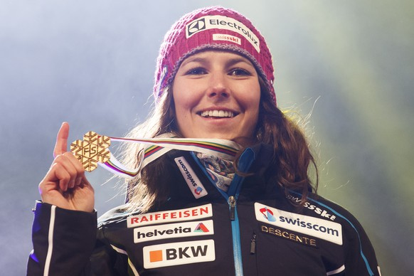 Gold medalist Wendy Holdener of Switzerland reacts during the women alpine combined winner's presentation at the 2017 FIS Alpine Skiing World Championships in St. Moritz, Switzerland, Friday, February 10, 2017. (KEYSTONE/Alexandra Wey)