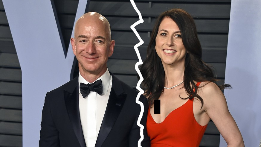 FILE - In this March 4, 2018 file photo, Jeff Bezos and wife MacKenzie Bezos arrive at the Vanity Fair Oscar Party in Beverly Hills, Calif. The founder of Amazon and his wife have made their largest political donation to date, giving $10 million to With Honor, a nonpartisan political-action committee devoted to helping military veterans win election to Congress. (Photo by Evan Agostini/Invision/AP, File)