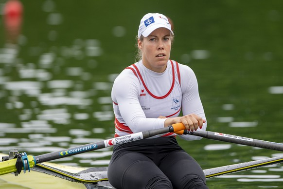 Jeanine Gmelin from Switzerland at the Women's single sculls race at the Rowing World Cup on Lake Rotsee in Lucerne, Switzerland, Friday, May 21, 2021. (KEYSTONE/Urs Flueeler)