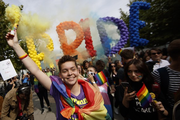 epa07910133 Participants attend Kosovo's third Pride Parade in Pristina, Kosovo, 10 October 2019. Hundreds of participants marched through the main square of the capital city, demanding freedom and equal rights for the LGBT (lesbian, gay, bisexual, and transgender) community in Kosovo.  EPA/VALDRIN XHEMAJ
